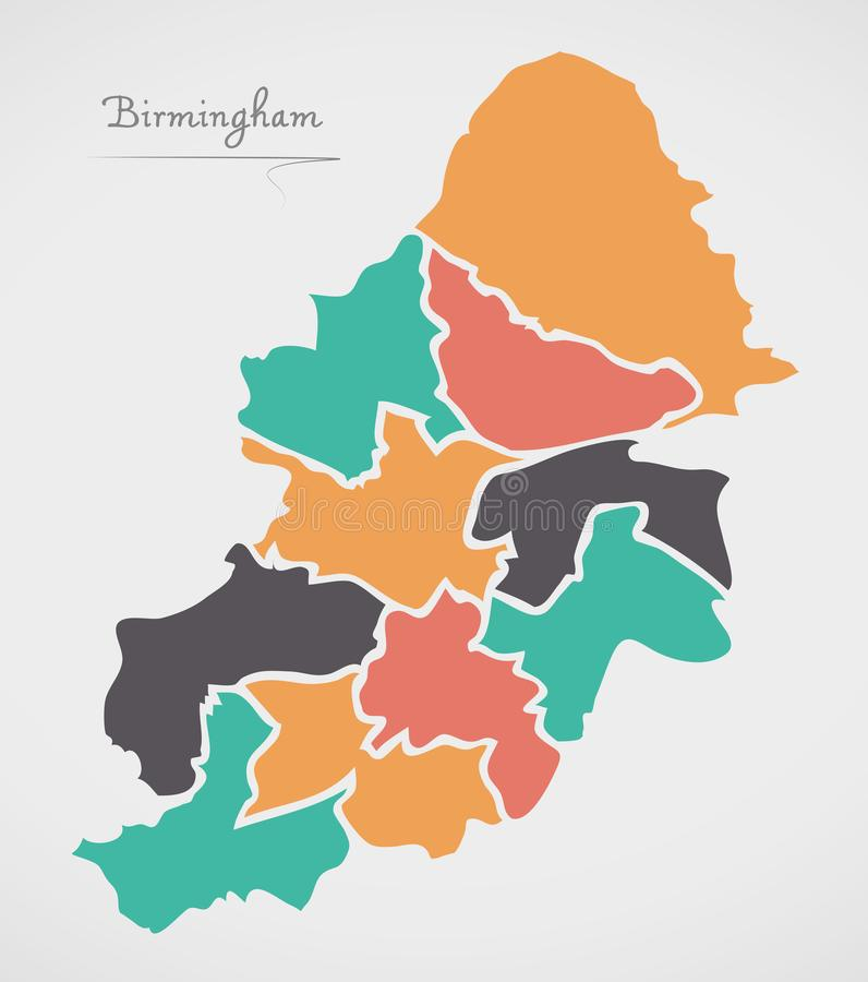 Birmingham Map with boroughs and modern round shapes. Illustration royalty free illustration