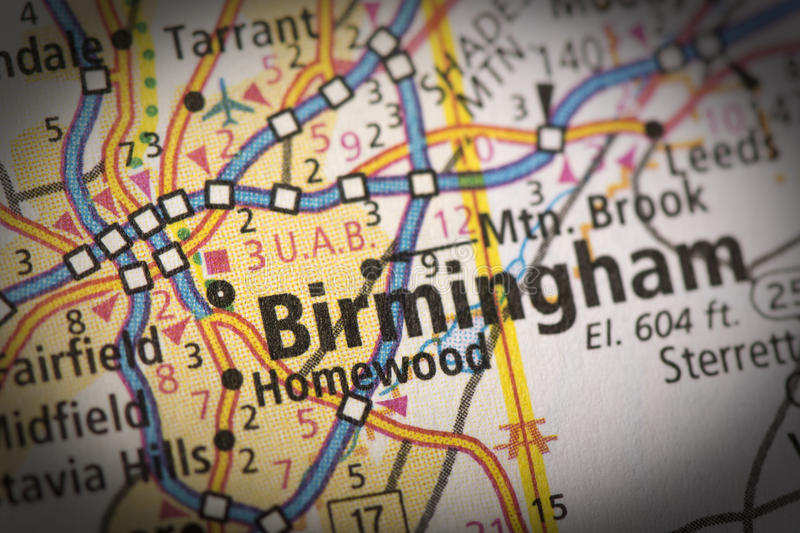 Birmingham on map. Closeup of Birmingham, Alabama on a road map of the United States royalty free stock photo