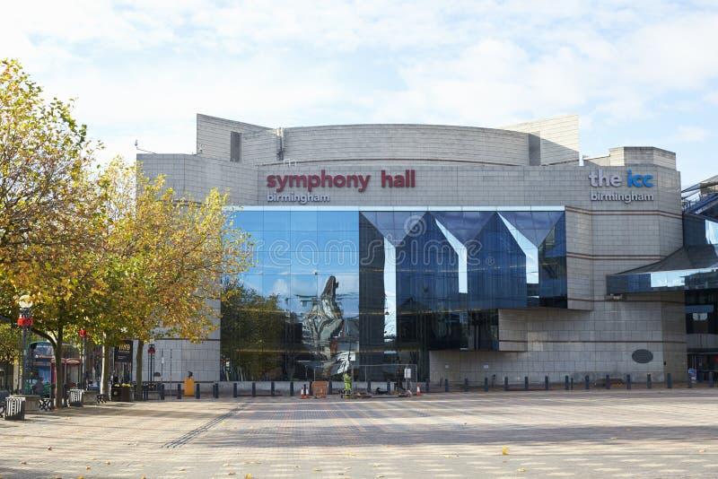 Birmingham, Reino Unido - 6 de noviembre de 2016: Exterior de la sinfonía Pasillo de Birmingham imagen de archivo libre de regalías