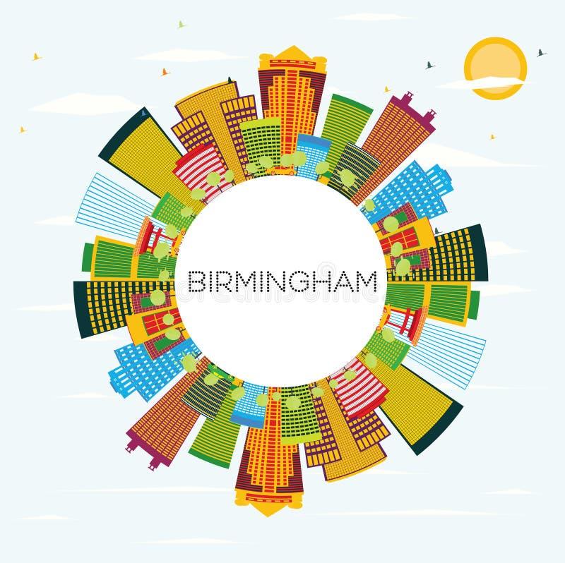 Birmingham-Skyline mit Farbgebäuden, blauem Himmel und Kopien-Raum lizenzfreie abbildung