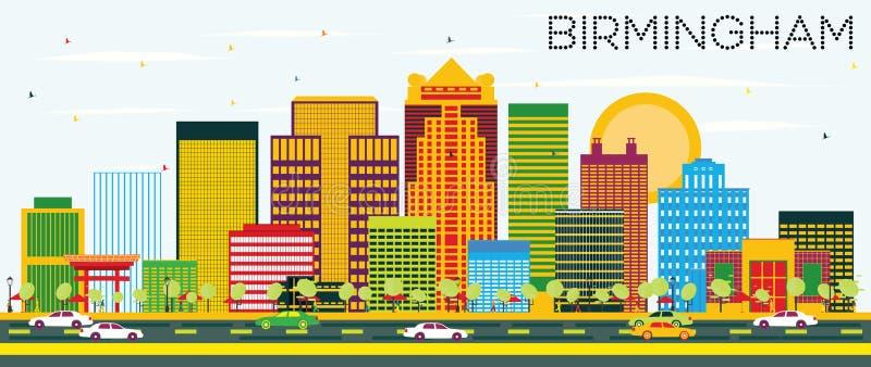 Birmingham-Skyline mit Farbgebäuden und blauem Himmel vektor abbildung