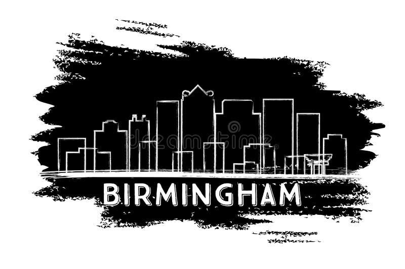Birmingham-Skyline-Schattenbild Hand gezeichnete Skizze stock abbildung