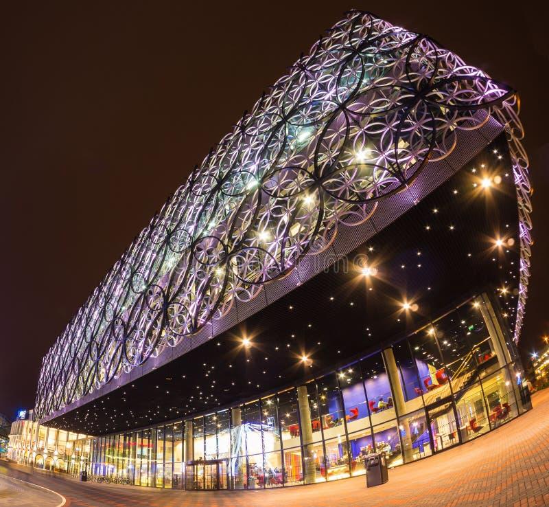Birmingham stulecia kwadrata wieczór Biblioteczny strzał obraz stock