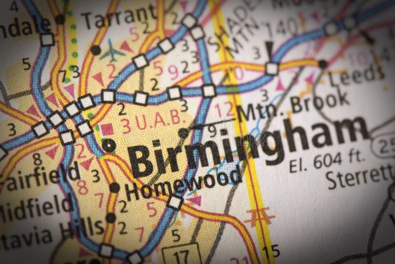 Birmingham sulla mappa fotografia stock libera da diritti