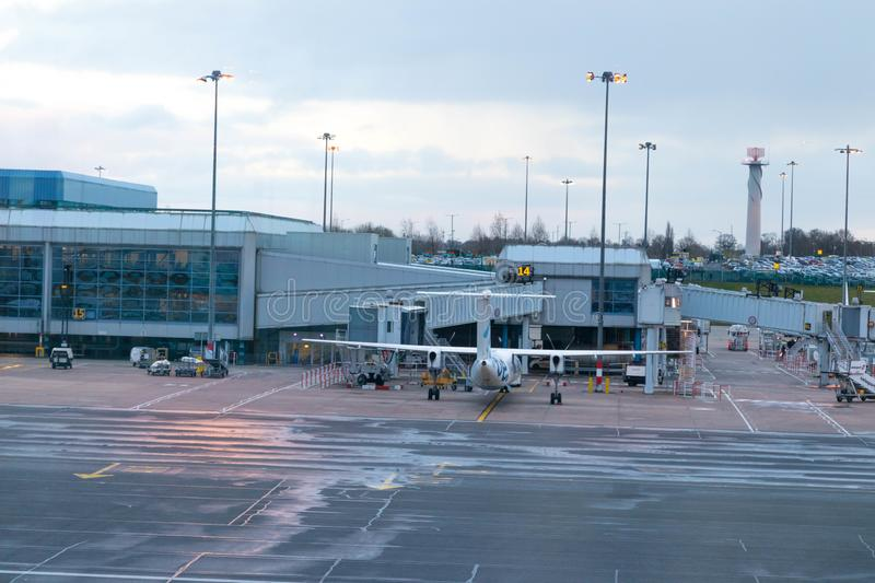 Birmingham/ UK - 03.03.19 : Birmingham Airport tarmac gates airplane stock image