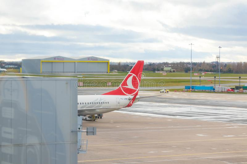 Birmingham/ UK - 03.03.19 : Birmingham Airport tarmac gates airplane. Birmingham airport in the east middle land of United Kingdom royalty free stock image