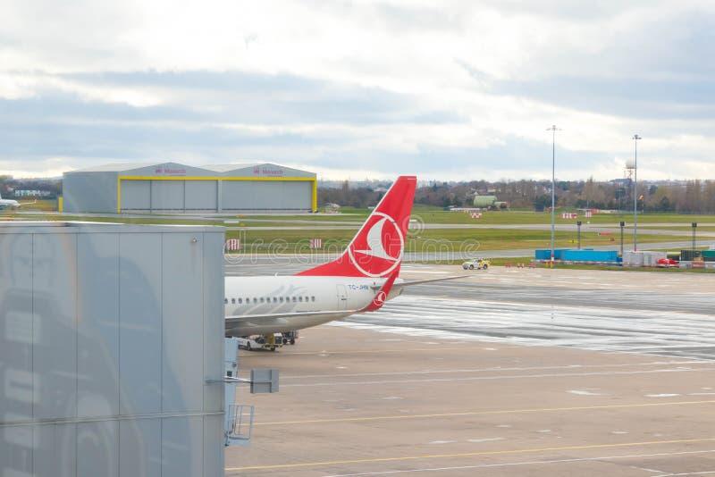 Birmingham/ UK - 03.03.19 : Birmingham Airport tarmac gates airplane royalty free stock image
