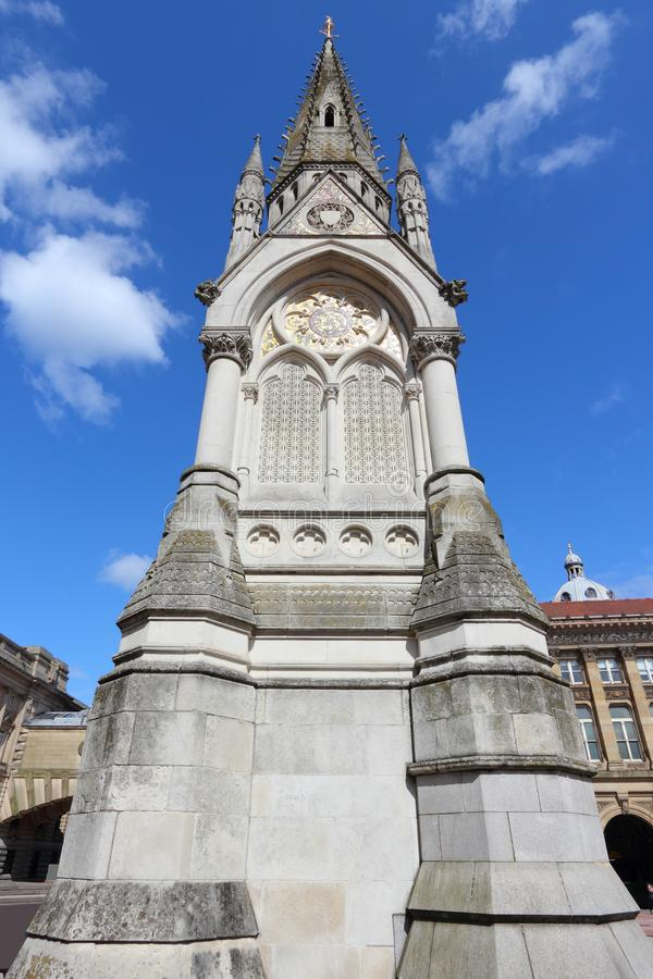 Birmingham UK landmark. Birmingham, UK - Chamberlain monument at Chamberlain Square stock photography