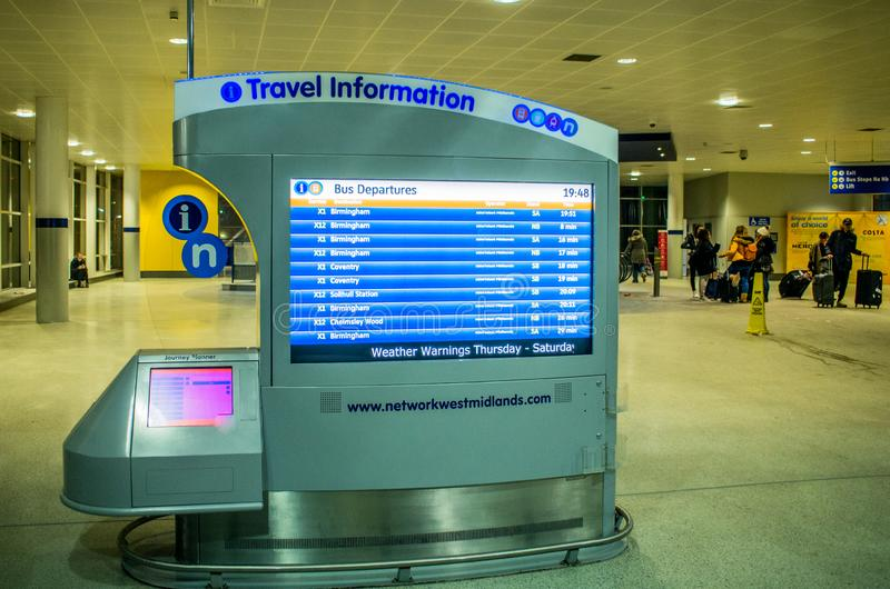 Travel information screen at Birmingham airport stock photo