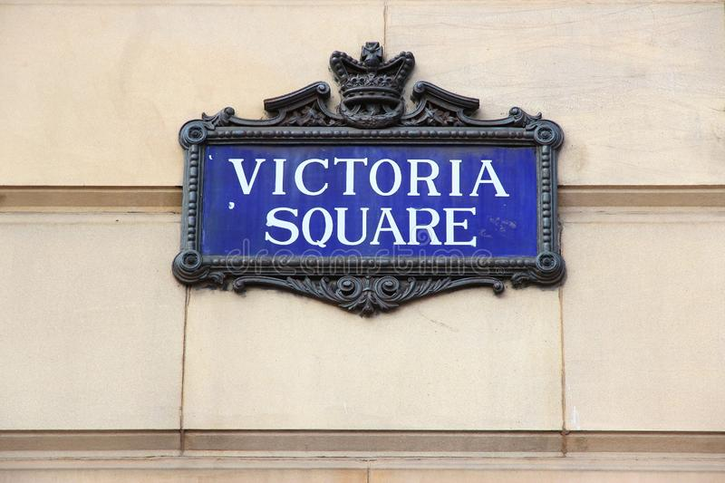 Birmingham - Victoria Square. Sign. City in West Midlands, England royalty free stock photography