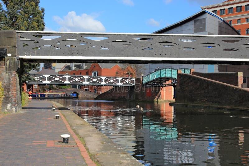 Birmingham waterways. Birmingham water canal network - iron footbridge. West Midlands, England stock image