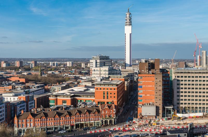 Birmingham, West Midlands, UK skyline. The city is the second biggest in England after London stock photos
