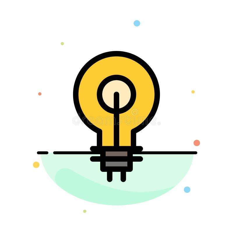 Birne, Glühen, Idee, Einblick, Inspiriting abstrakte flache Farbikonen-Schablone stock abbildung