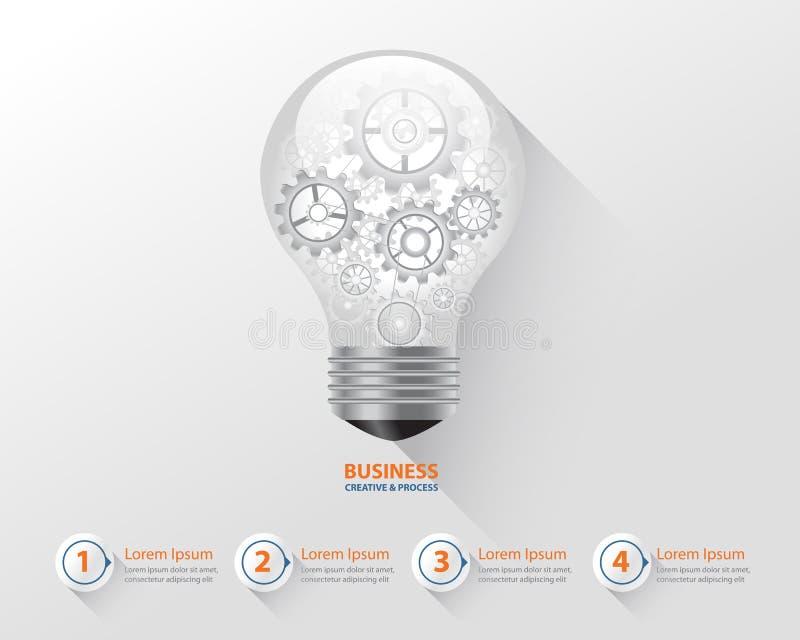 Birne infographic und kreatives Konzept des Geschäfts Gang brocess in der Glühlampe Vektor vektor abbildung