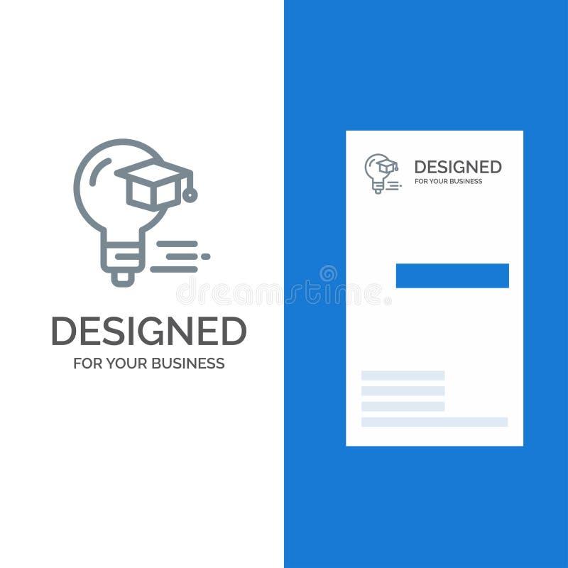 Birne, Kappe, Ausbildung, Staffelung Grey Logo Design und Visitenkarte-Schablone vektor abbildung