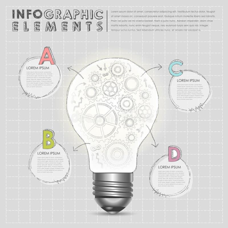 Birne mit infographic Elementen der Gangzusammenfassung lizenzfreie abbildung