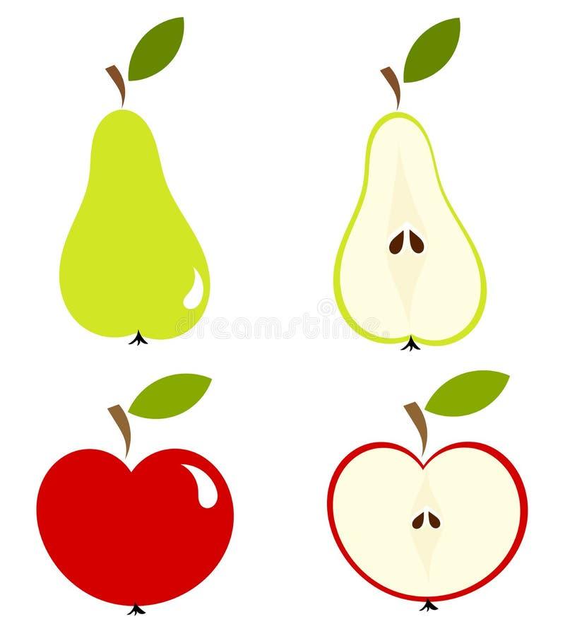 Birne und Apfel stock abbildung