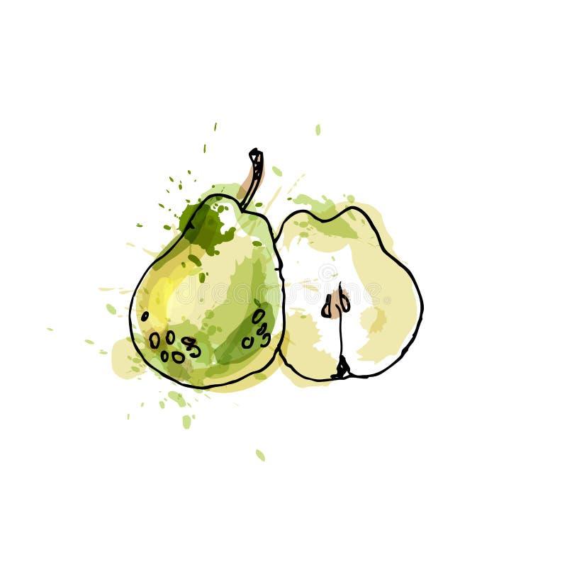 Birne, zeichnend durch Aquarell und Tinte mit Farbe spritzt auf Weiß stock abbildung