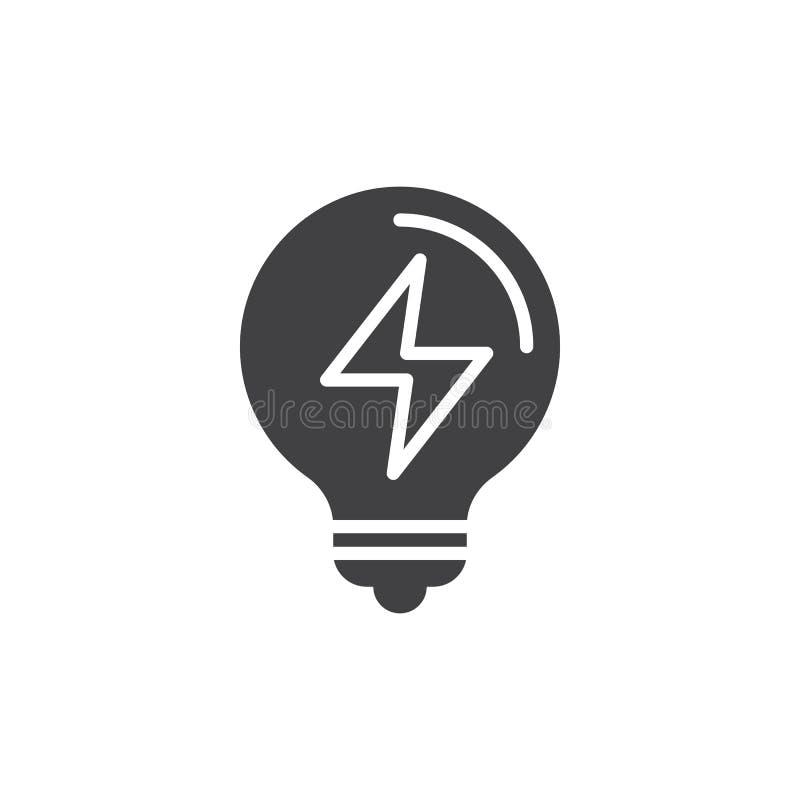 Birnenikonenvektor des elektrischen Lichtes, gefülltes flaches Zeichen lizenzfreie abbildung