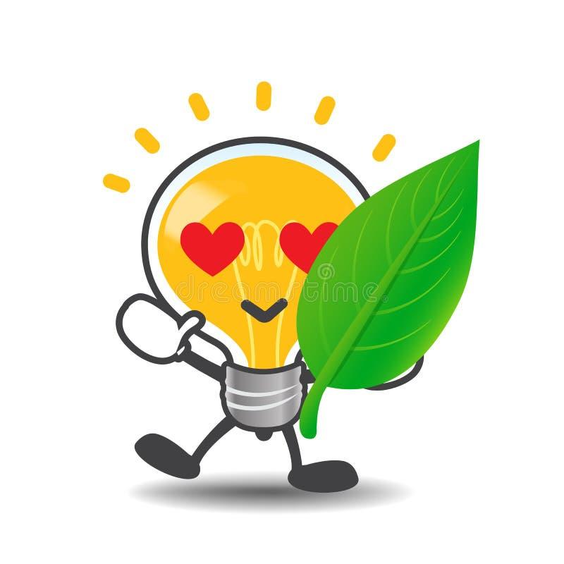 Birnenlampenkarikatur, die grünes Blatt eco Konzept auf zeigt stock abbildung