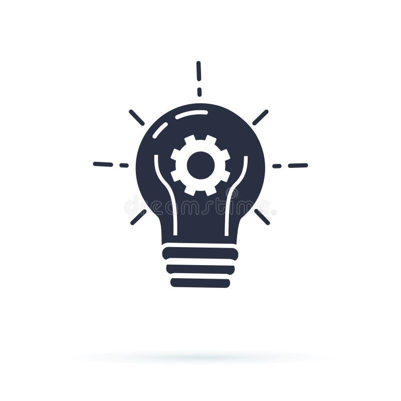 Birnenstrom-Vektorikone Fester Ikonenvektor der Glühlampe, lokalisiert auf weißem Hintergrund Ideenzeichen, Lösung vektor abbildung
