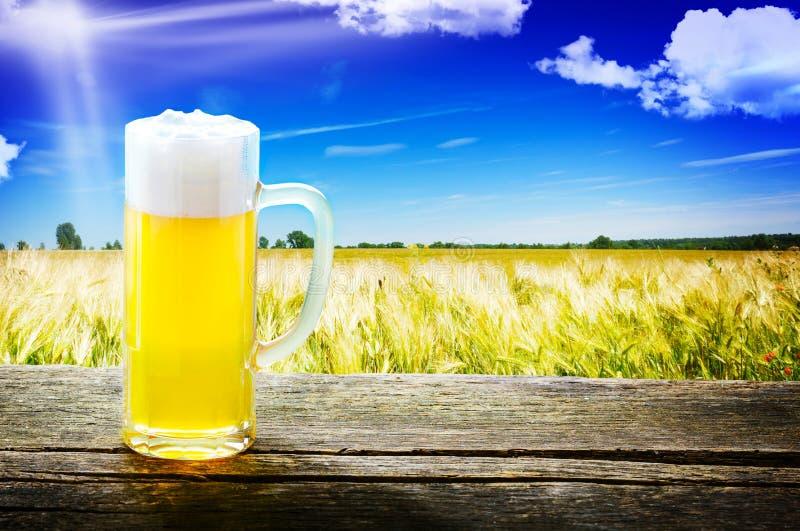 Birra alla spina sulla tavola di legno immagini stock libere da diritti