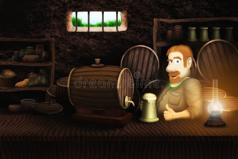 Birra bevente del barista allegro illustrazione di stock