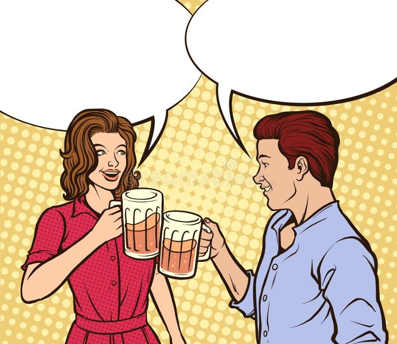 Birra bevente delle coppie illustrazione vettoriale