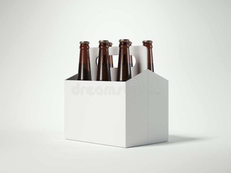 Birra in bianco bianca che imballa con le bottiglie marroni rappresentazione 3d illustrazione vettoriale