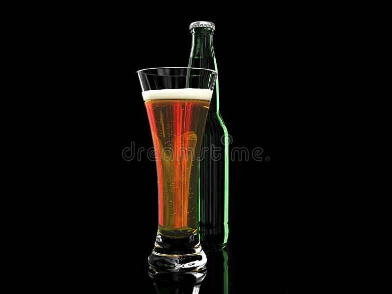 Birra in bottiglia da birra e del di vetro fotografie stock libere da diritti