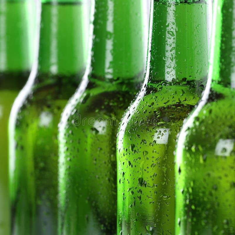 Birra in bottiglie con le gocce di acqua immagini stock libere da diritti