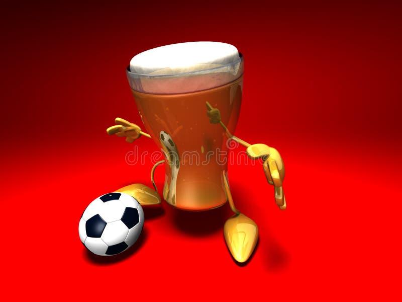 Birra che gioca gioco del calcio illustrazione vettoriale