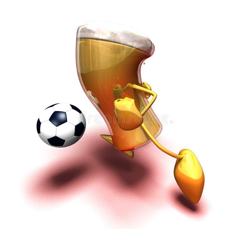 Birra che gioca gioco del calcio royalty illustrazione gratis
