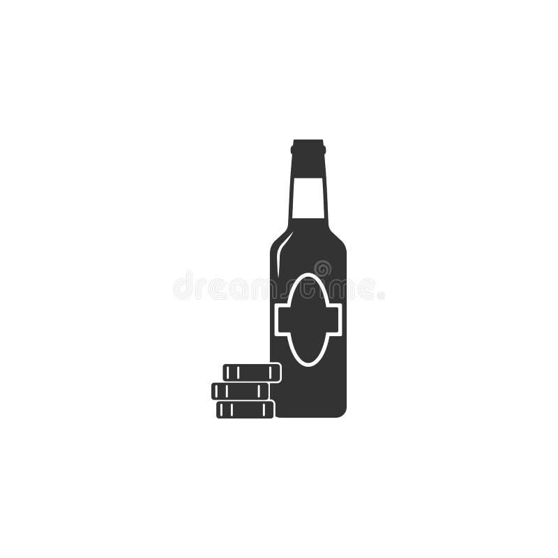 Birra con l'icona dei chip di gioco Elemento dell'icona dell'aeroporto per i apps mobili di web e di concetto La birra dettagliat royalty illustrazione gratis