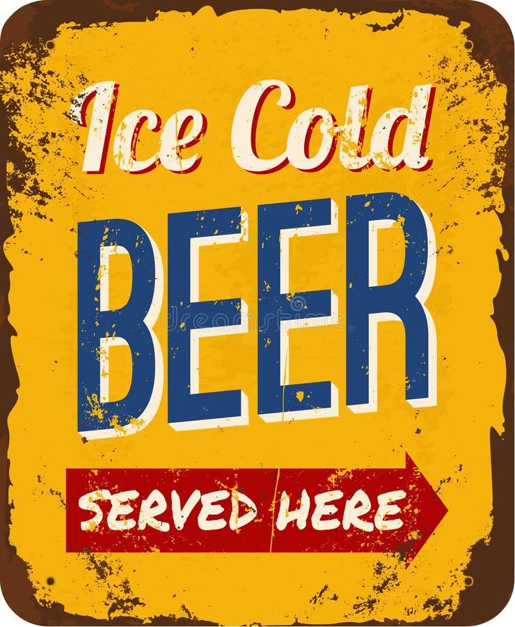 Birra d'annata Tin Sign royalty illustrazione gratis