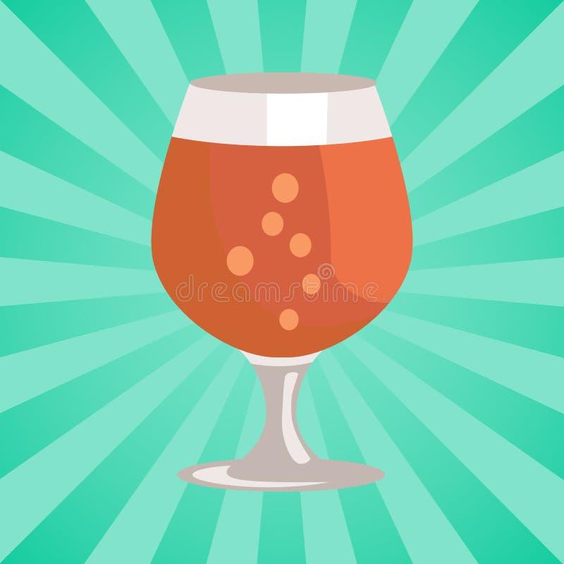 Birra del bicchiere da brandy nel vettore trasparente della cristalleria illustrazione di stock