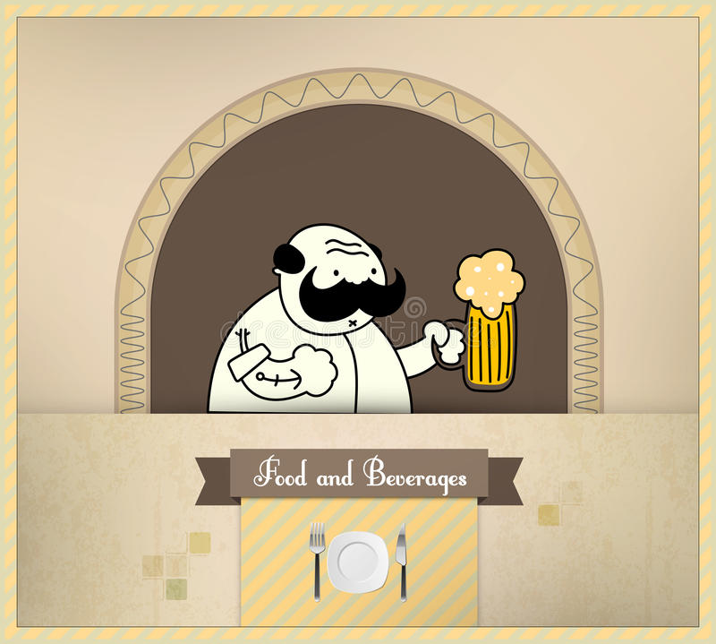 Birra del servizio del barista   Alimento e serie delle bevande royalty illustrazione gratis