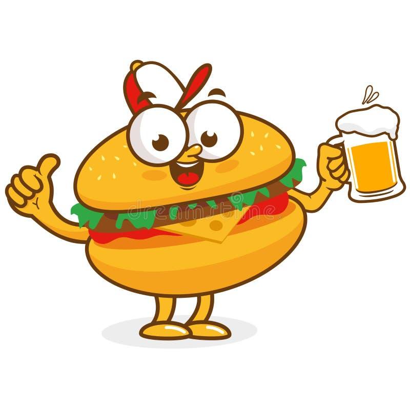 Birra della tenuta del carattere dell'hamburger royalty illustrazione gratis