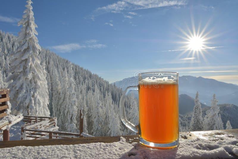 Birra di inverno sulla tavola fotografie stock