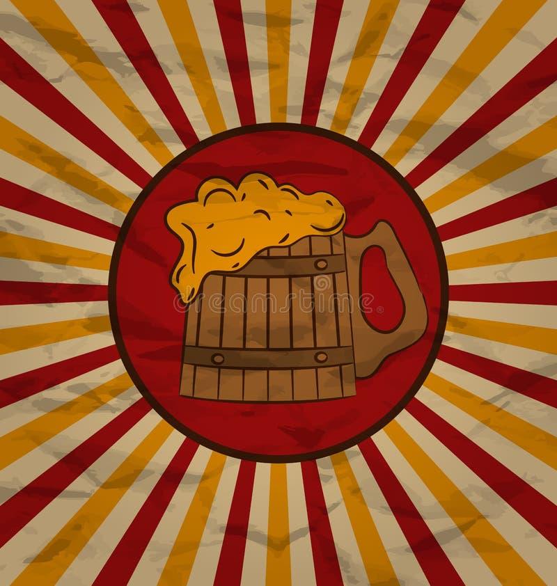 Birra di legno della tazza del manifesto d'annata illustrazione vettoriale