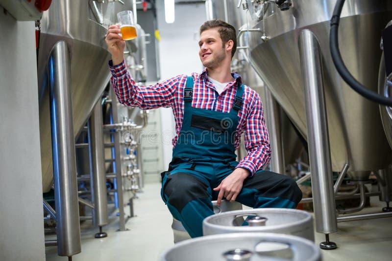 Birra di prova del fabbricante di birra fotografia stock libera da diritti
