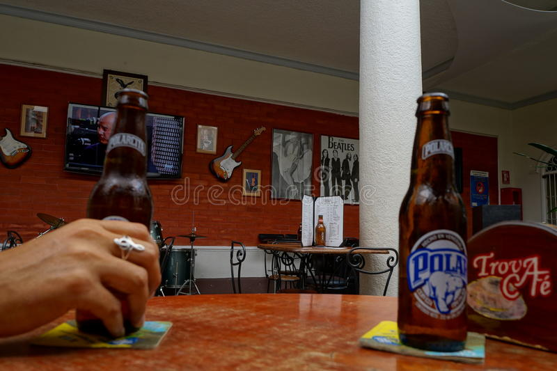 Birra e musica, fotografia stock