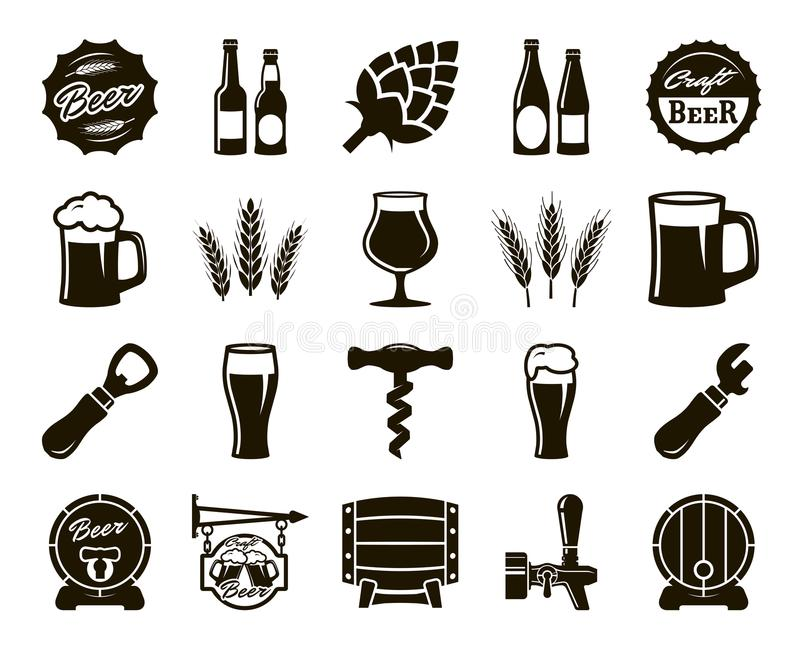 Birra, facente, ingredienti, cultura del consumatore Insieme delle icone nere royalty illustrazione gratis