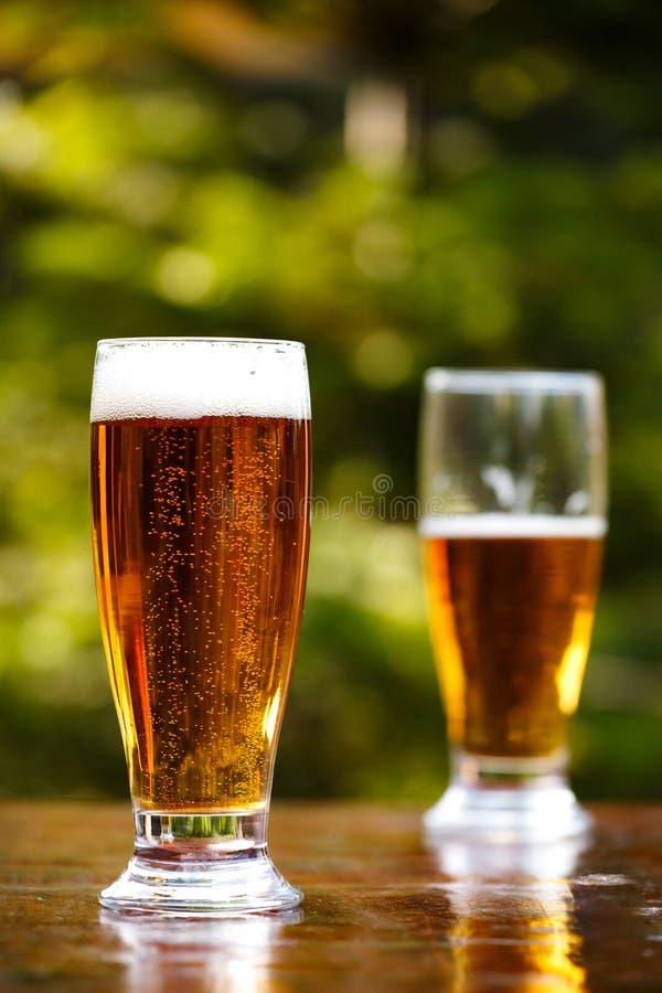 Birra fredda di rinfresco in un giorno di estate caldo fotografia stock