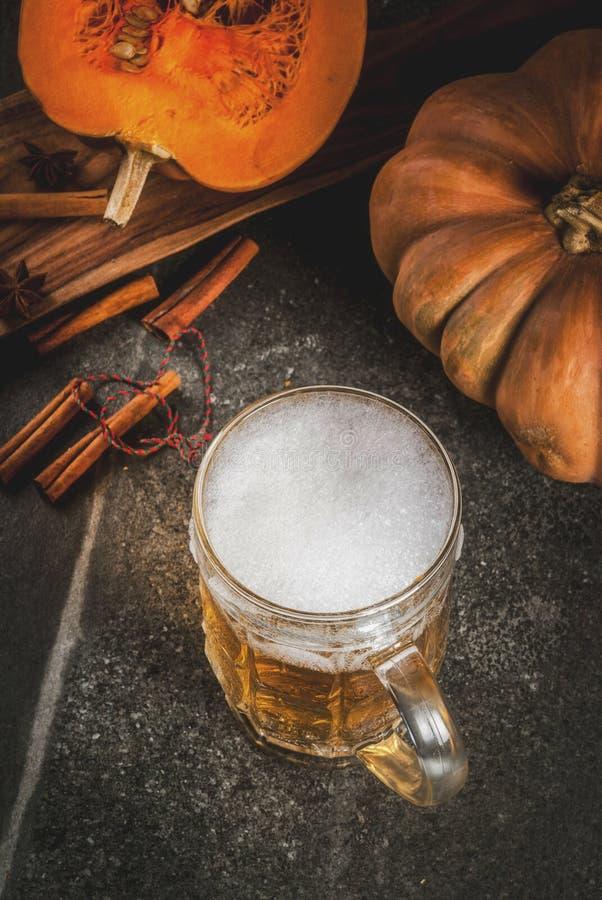 Birra inglese piccante della zucca fotografie stock
