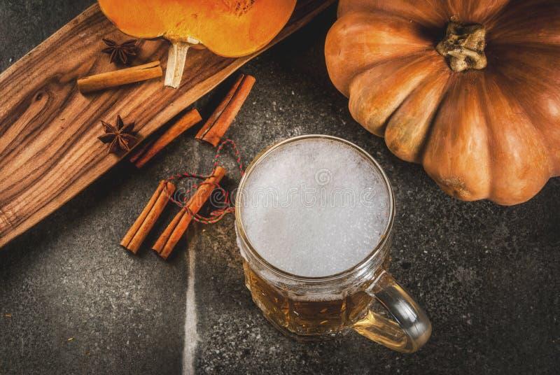 Birra inglese piccante della zucca immagini stock