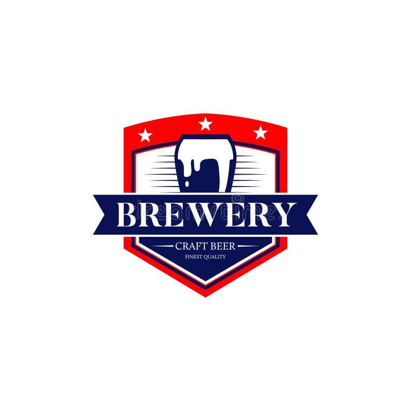 Birra Logo Symbol Icon del mestiere della fabbrica di birra illustrazione di stock