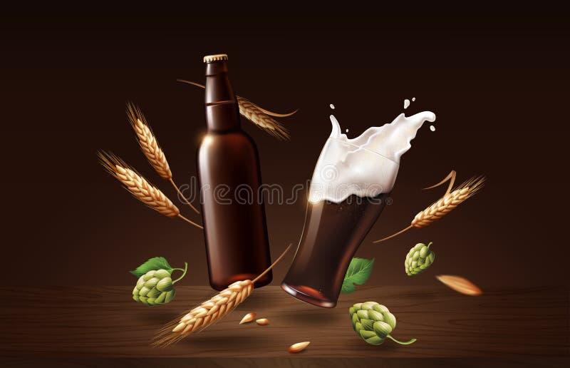 Birra scura del mento di Chin in tazza ed in bottiglia con grano ed in luppolo di vetro, bevanda di rinfresco con schiuma bianca  illustrazione di stock