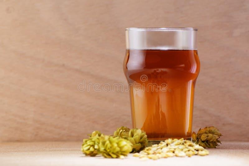 Birra in un vetro con orzo e luppolo su fondo di legno fotografia stock