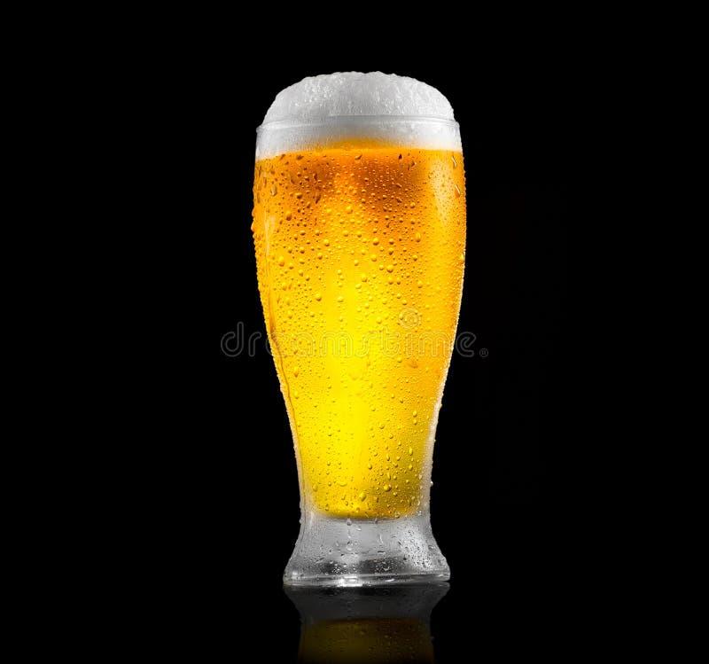 Birra Vetro di birra fredda con le gocce di acqua Birra del mestiere isolata sul nero fotografie stock libere da diritti